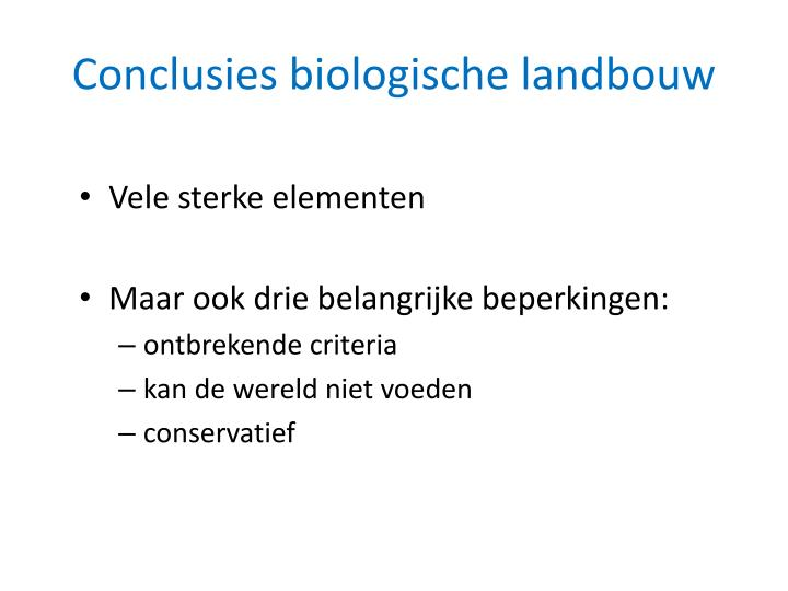 Conclusies biologische landbouw