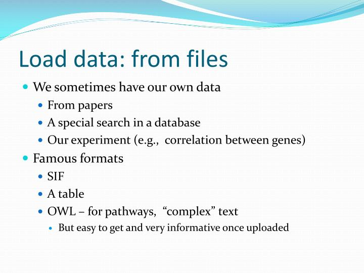 Load data: from files