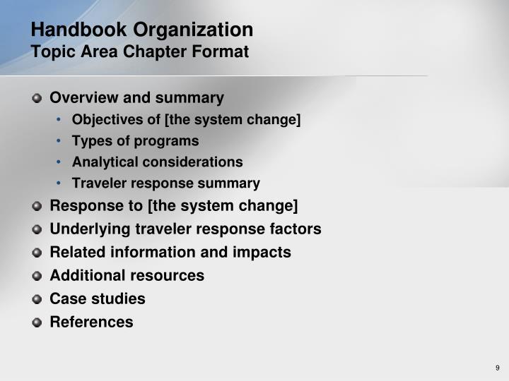Handbook Organization