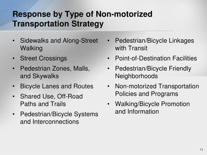Response by Type of Non-motorized Transportation Strategy