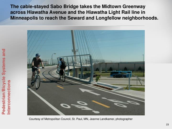 The cable-stayed Sabo Bridge takes the Midtown Greenway across Hiawatha Avenue and the Hiawatha Light Rail line in Minneapolis to reach the Seward and Longfellow neighborhoods.
