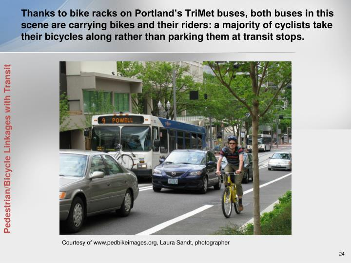 Thanks to bike racks on Portland's TriMet buses, both buses in this scene are carrying bikes and their riders: a majority of cyclists take their bicycles along rather than parking them at transit stops.