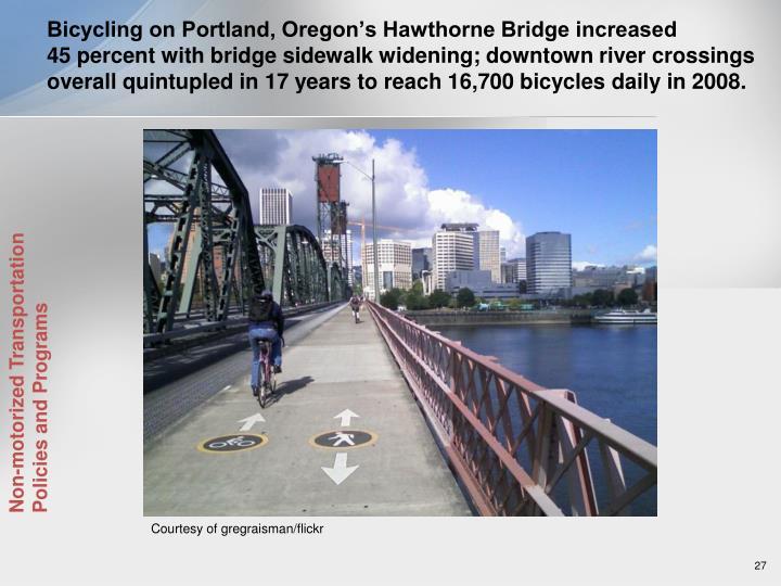 Bicycling on Portland, Oregon's Hawthorne Bridge increased