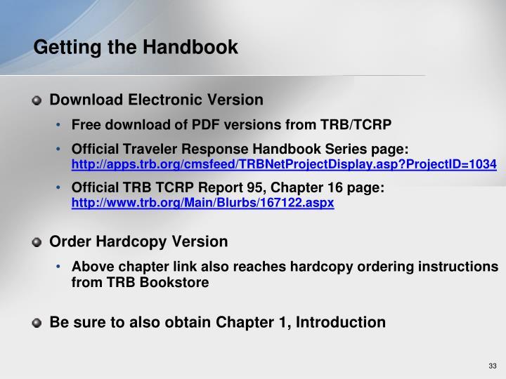 Getting the Handbook