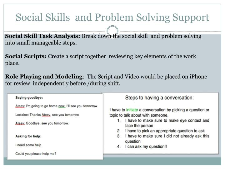 Social Skills  and Problem Solving Support