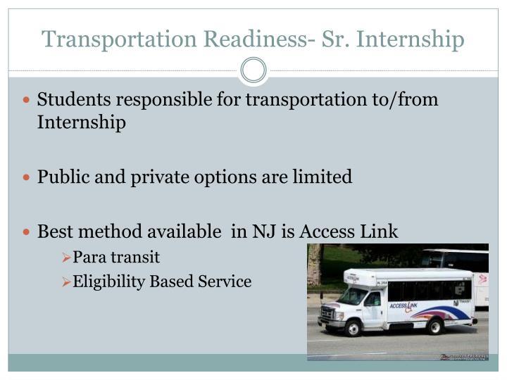 Transportation Readiness- Sr. Internship