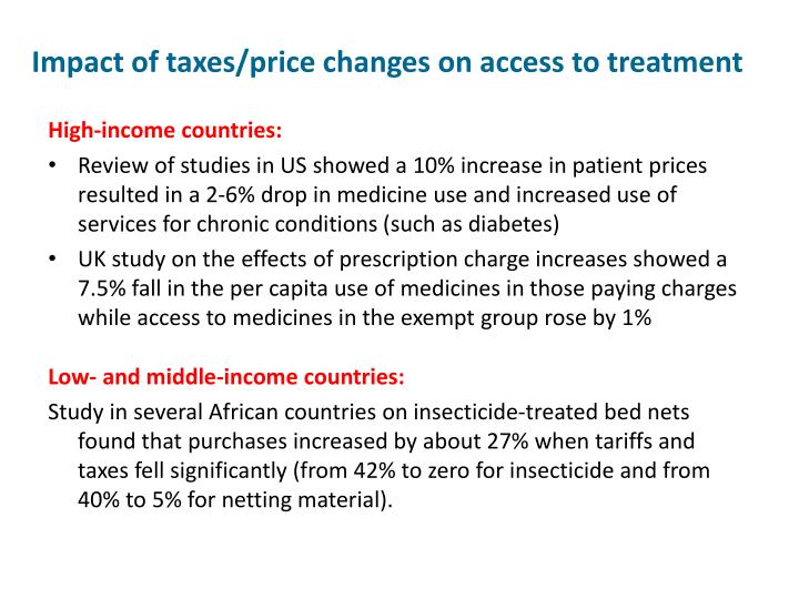 Impact of taxes/price changes on