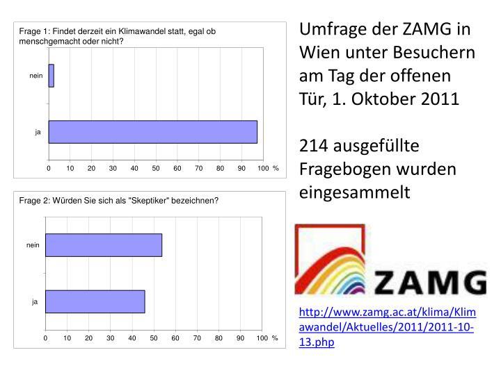 Umfrage der ZAMG in Wien unter Besuchern am Tag der offenen Tür, 1. Oktober 2011
