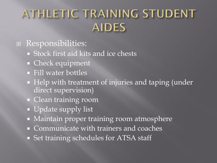 ATHLETIC TRAINING STUDENT AIDES