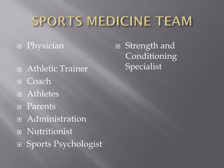 Sports medicine team