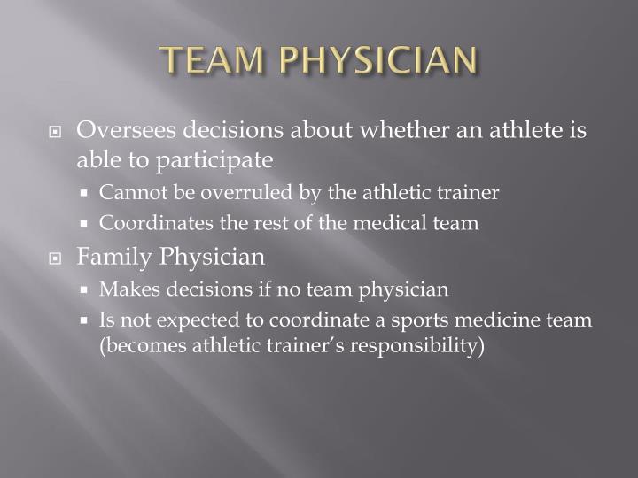 Team physician