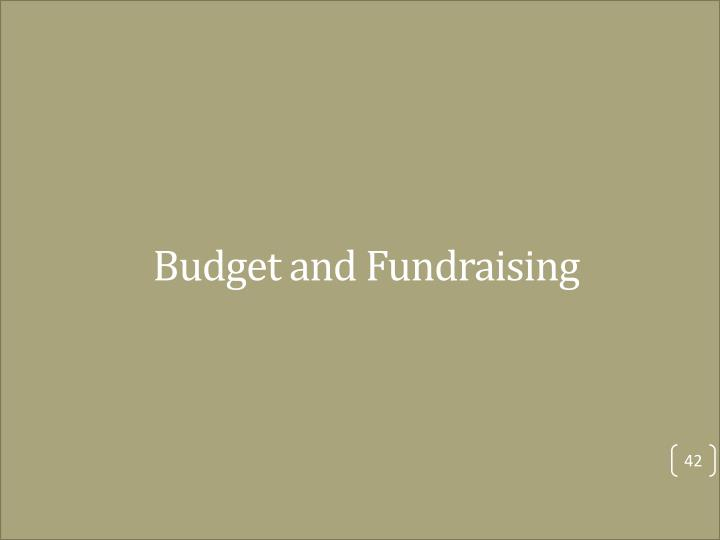 Budget and Fundraising