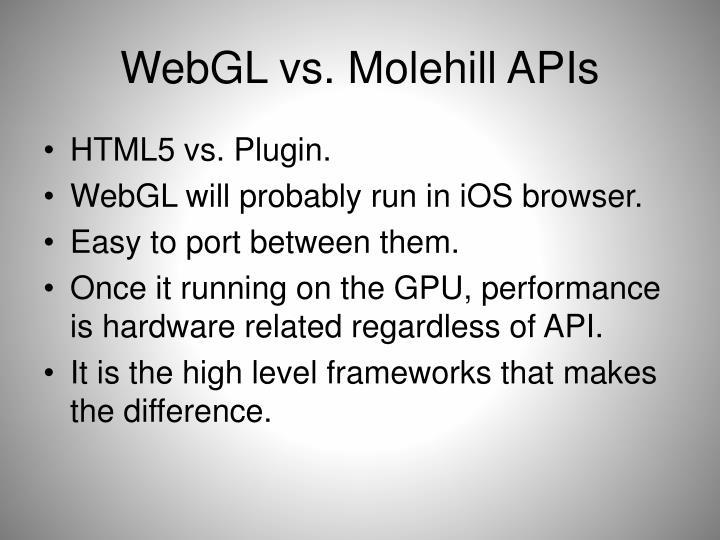 WebGL vs. Molehill APIs