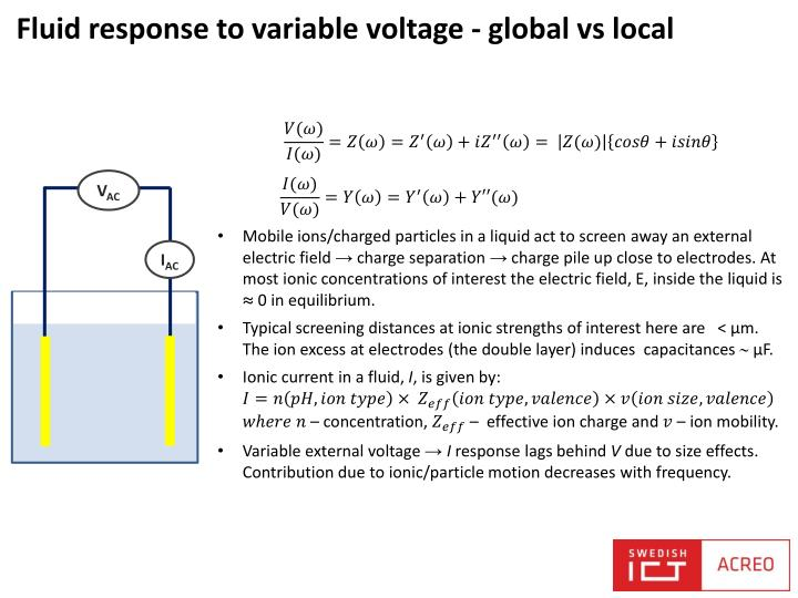 Fluid response to variable voltage global vs local