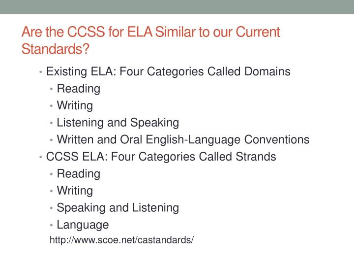 Are the CCSS for ELA Similar to our Current Standards?