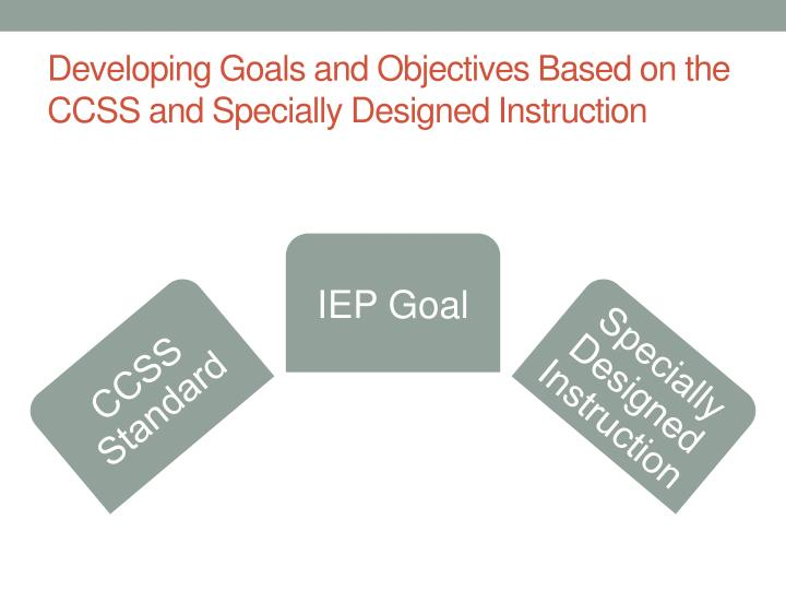 Developing Goals and Objectives Based on the CCSS and Specially Designed Instruction