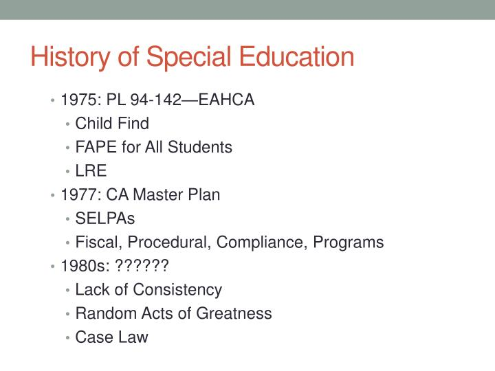 History of Special Education