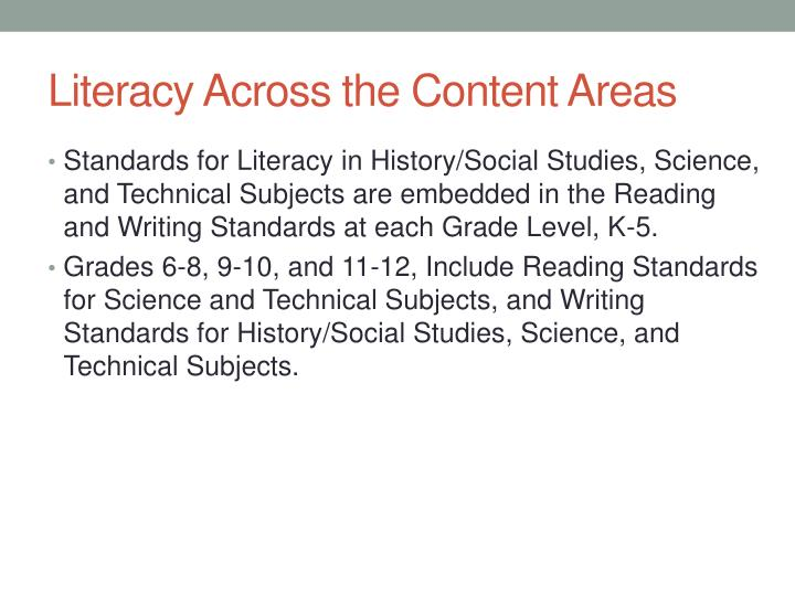 Literacy Across the Content Areas