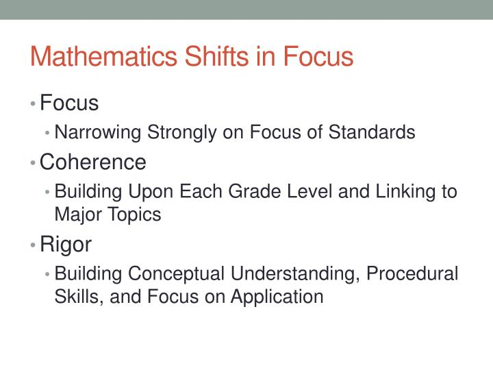 Mathematics Shifts in Focus