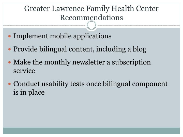 Greater Lawrence Family Health Center Recommendations