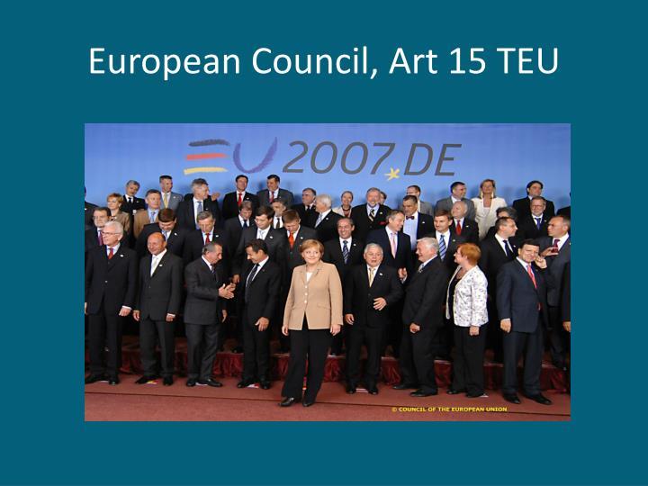 European Council, Art 15 TEU