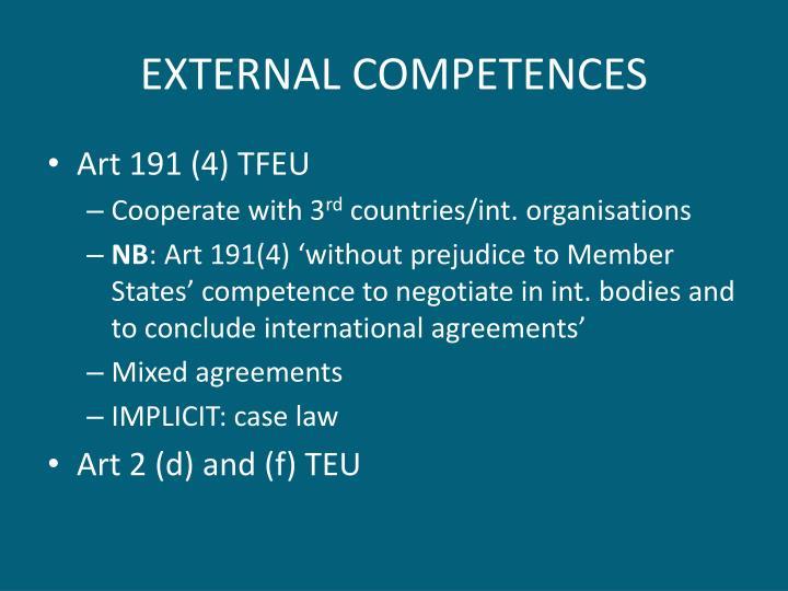 EXTERNAL COMPETENCES