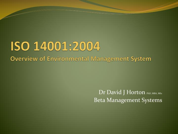 iso 14001 2004 overview of environmental management system n.