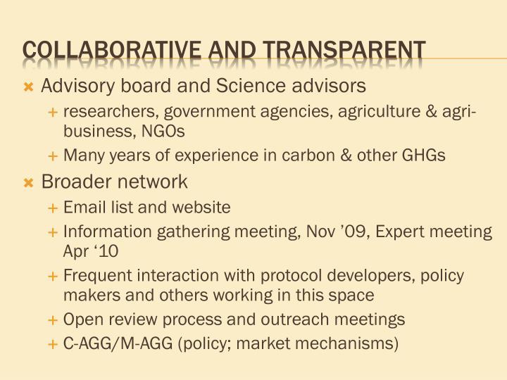 Advisory board and Science advisors