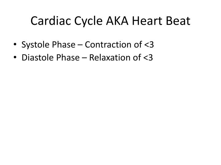 Cardiac Cycle AKA Heart Beat