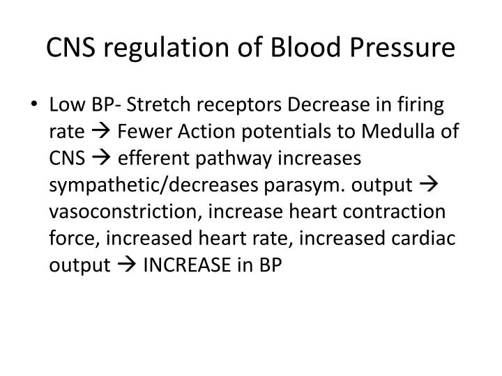 CNS regulation of Blood Pressure
