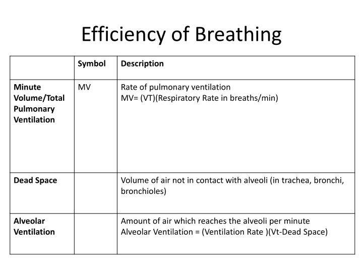 Efficiency of Breathing
