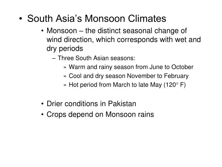 South Asia's Monsoon Climates