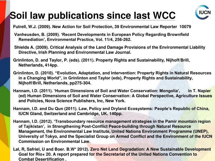 Soil law publications since last WCC