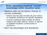 slos assessing students current knowledge skills baseline data