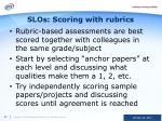 slos scoring with rubrics