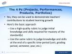 the 4 ps projects performances products portfolios