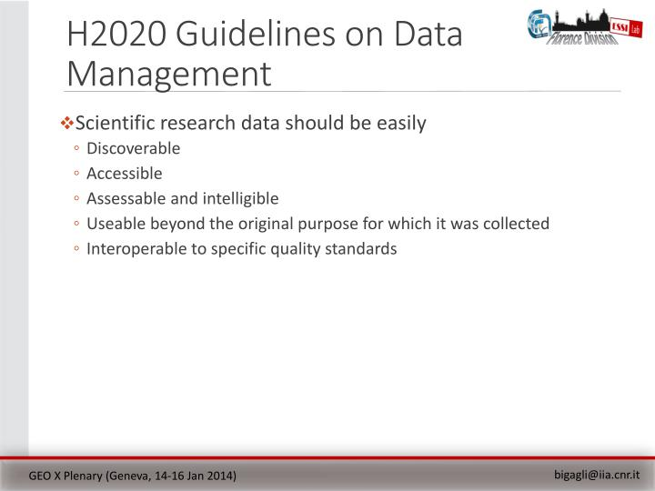 H2020 Guidelines on Data Management