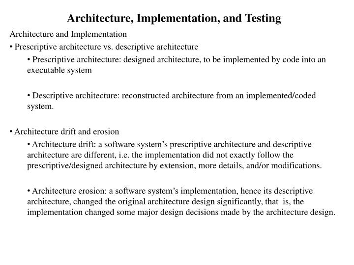 architecture implementation and testing n.