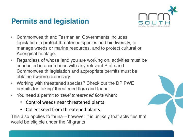 Permits and legislation