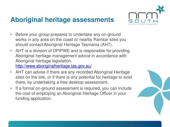 Aboriginal heritage assessments