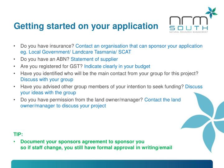 Getting started on your application
