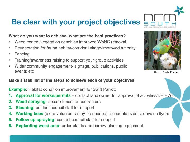 Be clear with your project objectives