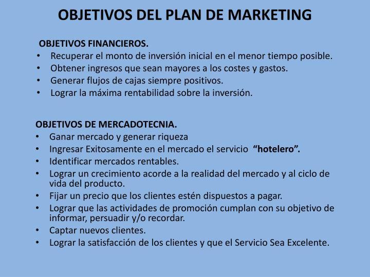OBJETIVOS DEL PLAN DE MARKETING