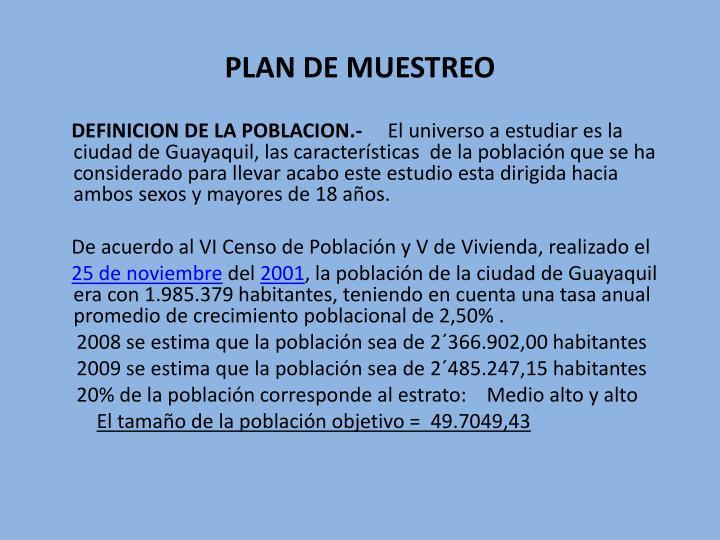 PLAN DE MUESTREO