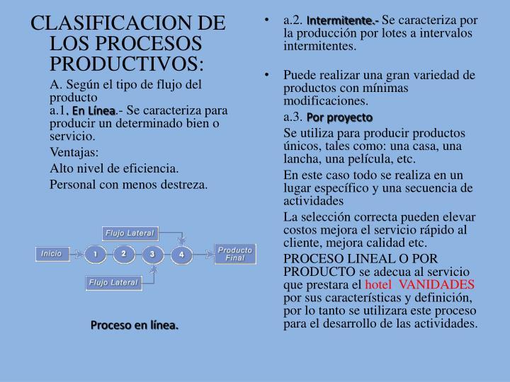 CLASIFICACION DE LOS PROCESOS PRODUCTIVOS: