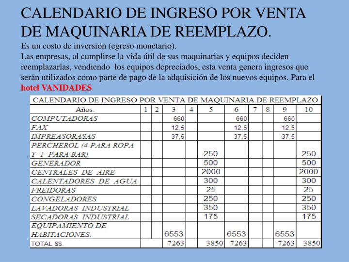 CALENDARIO DE INGRESO POR VENTA DE MAQUINARIA DE REEMPLAZO.