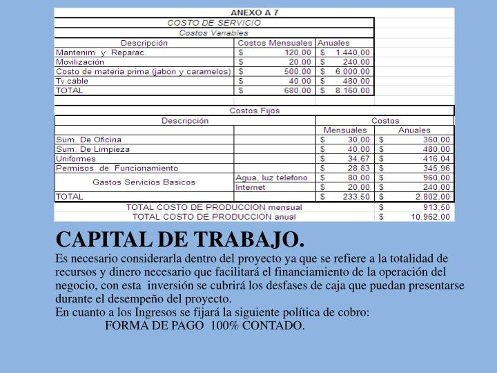 CAPITAL DE TRABAJO.