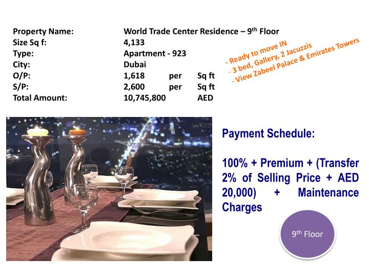 Property Name:		World Trade Center Residence – 9