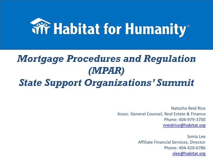 Mortgage procedures and regulation mpar state support organizations summit