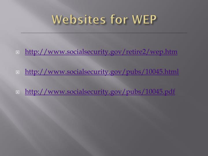 Websites for WEP